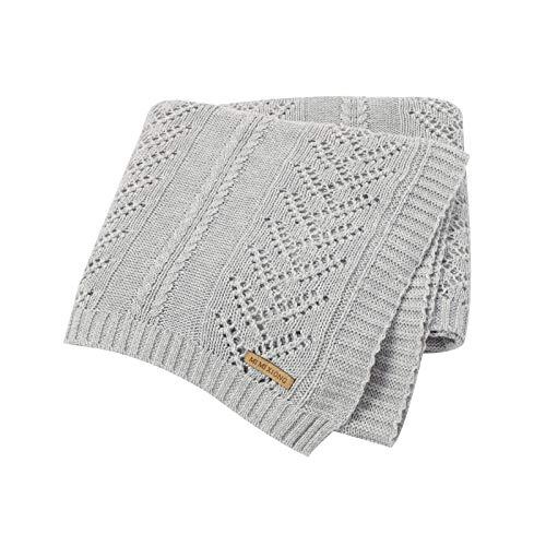 mimixiong Mantas de bebé 100% algodón puro suave de punto para bebés mantas, 100 x 80 cm (Gris)