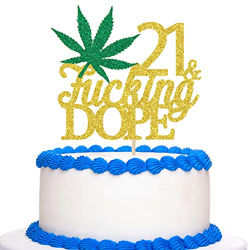 Gold Glitter 21 & Fucking Dope Cake Topper - Happy 21st Birthday Cake Topper - 21st Birthday for Marijuana/Dope/420 Themed Party Decoration Supplies