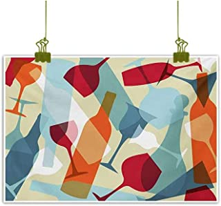 Homrkey Modern Oil Paintings Modern Design Colorful Silhouettes of Glasses Bottles Fun Party Artistic Pale Blue Ruby Orange Canvas Wall Art 47