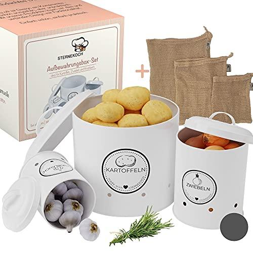 STERNEKOCH® Vorratsbehälter [3er Set] - frische Knoblauch, Zwiebel und Kartoffel Aufbewahrungsbox - Inkl. 3 wiederverwendbaren Gemüsebeutel - idealer Kartoffeltopf, Zwiebeltopf, Knoblauchtopf (weiß)