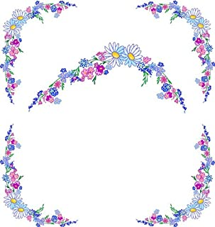 4 Corner Images-Blue & Pink Flowers with Daisies-Vinyl Stained Glass Film, Static Cling Window Decal