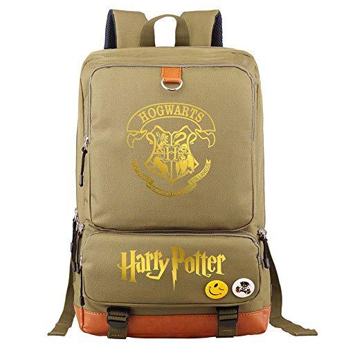 Mochila Escolar portátil Hogwarts College, Mochila Escolar Unisex Harry Potter Casual Mochila Medio Marrón