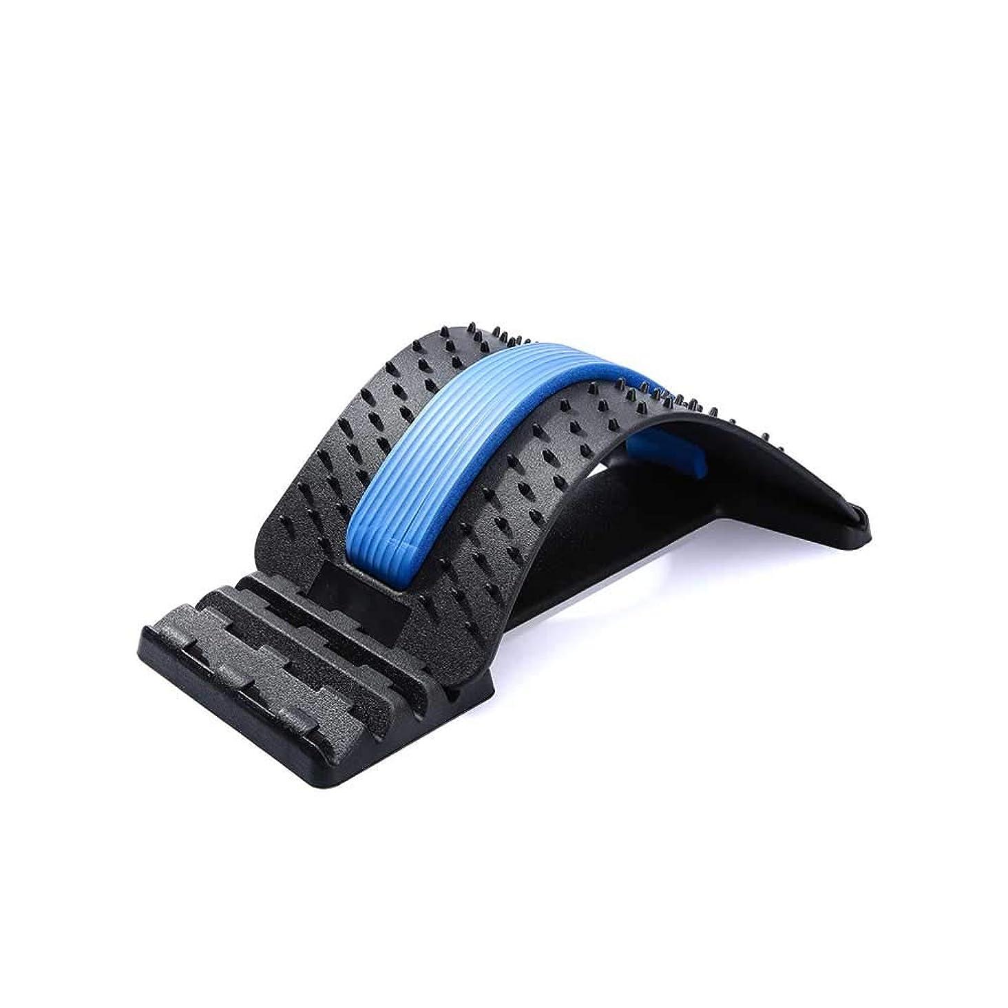 保護する札入れ経済的SUPVOXバックストレッチングデバイスバックマッサージャーランバーサポートストレッチャー脊椎の背中の痛み筋肉痛の緩和用オフィスチェア(ブラックブルー)
