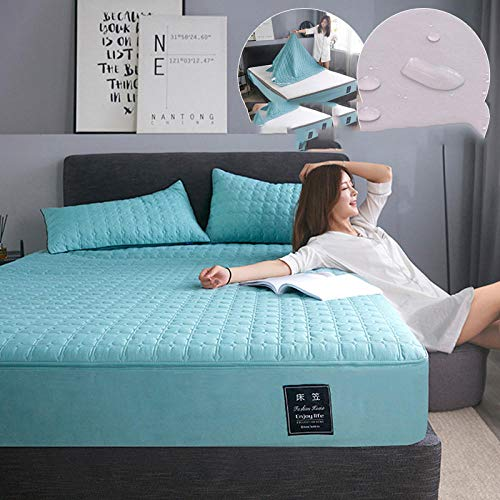 N / A Fitted Sheets King Size Bed,Waterproof bed sheet cover cover all-inclusive quilted non-slip mattress protection cover dust cover-green_120cmx200cm+25cm