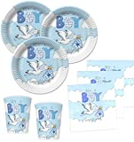 Kids Party World 48 Teile Baby Shower Deko Set Storch in Blau 16 Personen