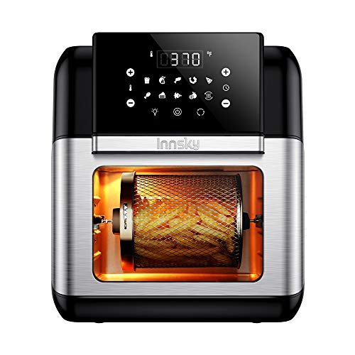 Innsky Air Fryer Oven, 10.6QT 1500W Electric Air Fryer with LED Digital Touchscreen 10-in-1 Countertop Oven with Dehydrator & Rotisserie, 6 Accessories & 32 Recipes
