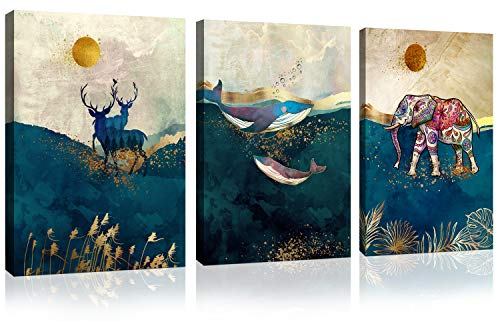 JLXart Animal Canvas Wall Art Whale Elk Elephant Wall Pictures Ocean Landscape Abstract Canvas Print for Bedroom Bathroom Home Wall Decor on Canvas Stretched Artwork for Living Room Ready to Hang