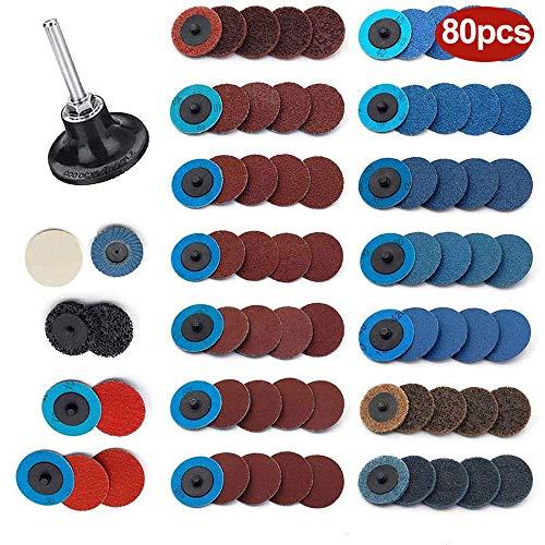80-teiliges 2-Zoll-Schleifscheiben- und 1/4-Zoll-Schafthalterset - Roloc-Schnellwechsel-Schleifscheiben-Streifenradsatz zum Entfernen der Rostfarbe von Oberflächenpolierschleifern