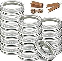 12個 広口缶詰 ジャーバンド 交換用メタルリング スプリットタイプの蓋 スクリューバンドキャップ メイソン缶ジャー対応 シルバー 86mm