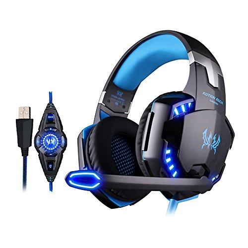 KOTION EACH G2200 Gaming Headphone USB 7.1 Surround Stereo Headset Vibration System Rotatable Microphone Earphone Mic LED USB (Nero+Blu)