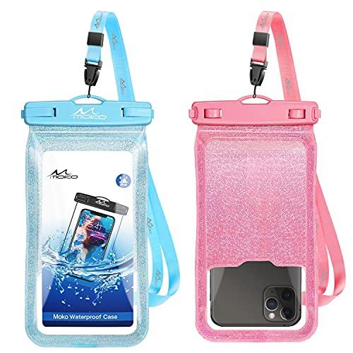 MoKo Funda Impermeable Universal, [2PZS] IPX8 Bolsa Estanca Móvil Brillante, Protectora Seca Compatible con i-Phone 12 Mini/12 ProMax 11 ProMax/X/XS Max/8/7/6/6s Plus, Galaxy S20/S21, Azul Claro+Rosa
