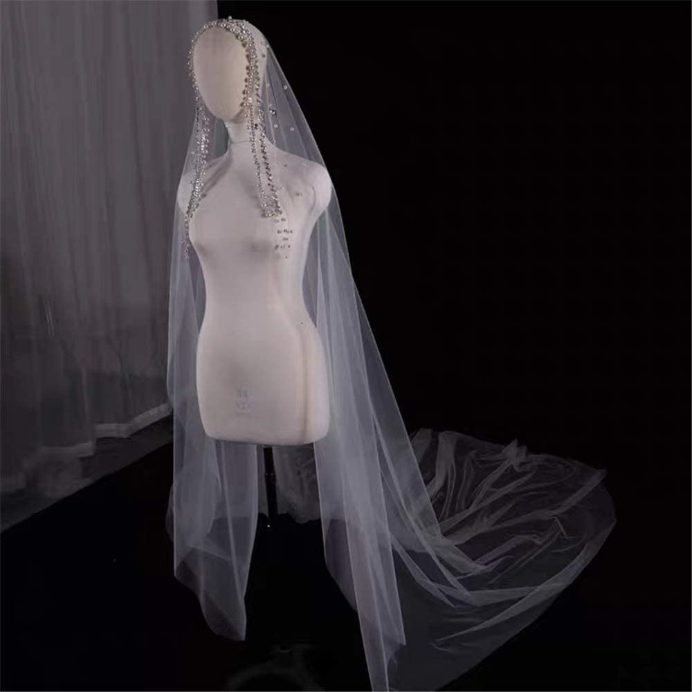 Pearls Wedding Phoenix Mall Veil Long with Crysta Max 65% OFF Tulle Cathedral