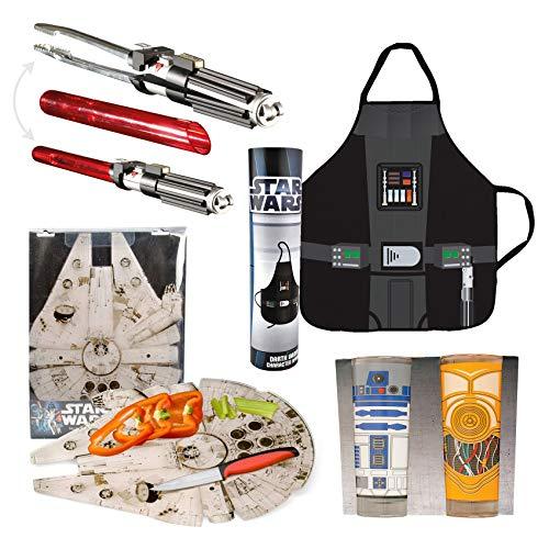 Preis am Stiel 4er Grillset ''Star Wars'' | Kochschürze | Schneidebrett | Trinkglas | Grillzange | Grillen | Kochen | Geschenkidee | Deko | Backen | Küche | Garten | Küchenhelfer | Star Wars Fan