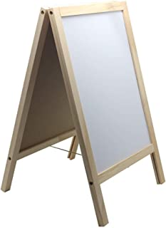 BangQiao Wooden Freestanding A Frame Non Magnetic Chalkboard and Magnetic Dry Erase White Board Display Sign, Double Sided Tabletop Message Board for Home, Office and Counter