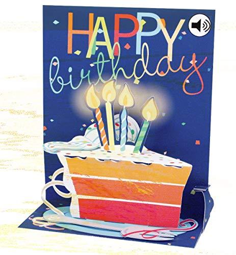 Popshots 3D Pop-Up Sound Musical Greeting Card Birthday Big Slice of Cake