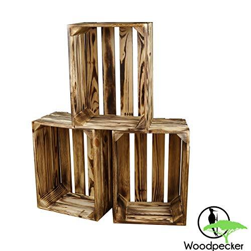 Woodpecker 3er Set Holzkisten Vintage 39x29x19 cm geflammt und robust- Apfelkisten, Weinkisten, Deko-kisten, Aufbewahrungskisten, Obstkisten,