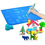 SENLLY 3D Pen Mat with 2 Silicone Finger Caps, Large Multi-Shaped Silicone 3D Printing Pen Basic, 3D Pen Drawing Tools for 3D Beginners/Kids/Adults Gift (16.5x10.5 in, Blue)