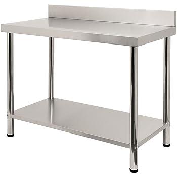 Sailun® - Mesa de trabajo de acero inoxidable, mesa de cocina para gastronomía, mesa de acero inoxidable con estante inferior extra grande: Amazon.es: Hogar