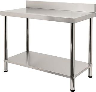 LARS360 Mesa de Trabajo de Cocina acero inoxidable, para gastronomía, preparación de alimentos, cocina, bar, restaurante, metal, L x B x H: 100 * 60 * 85 cm, Con protector contra salpicaduras