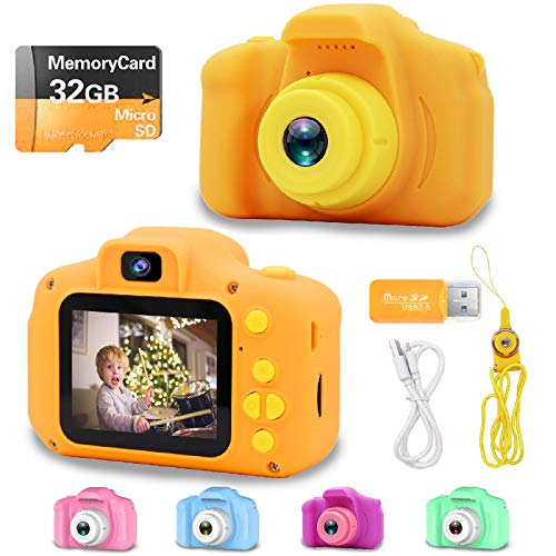 YOHE Upgrade Kids Camera,Best Birthday Gifts Toys for Girls Boys,Rechargeable HD 1080P Digital Video Cameras with 32GB SD Card,Educational Toys for 1 2 3 4 5 6 7 8 9 Year Old Toddlers (Orange)