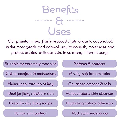 Kokoso Baby Organic Coconut Oil – Moisturising 100% Natural Baby Oil for Baby Massage, Dry, Sensitive and Normal Baby Skin – 168g