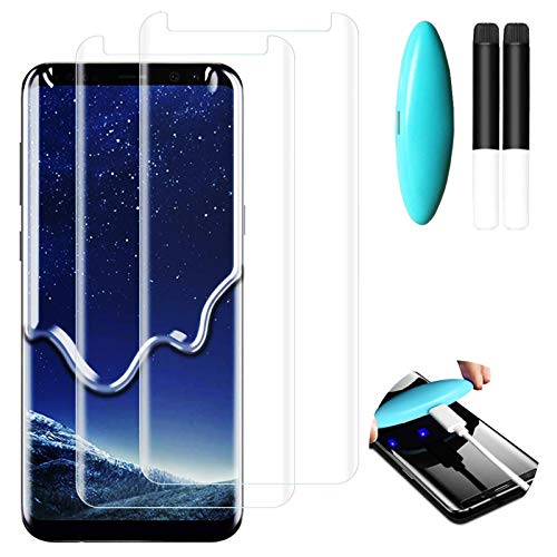 Johncase [2 Pack] Screen Protector Compatible for Samsung Galaxy S8 /S9, Full Edge 3D Curved Tempered Glass Film W/UV Liquid Adhesive Light Installation Kit [Case Friendly]