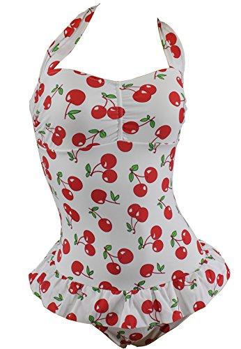Aloha-Beachwear Vintage Retro Rockabilly A8009 - Bañador para mujer, diseño con cerezas, color rojo