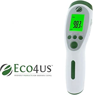 Eco4us - Non-Contact Infrared Talking Thermometer, Large Backlit LCD Display, Announces Temperature in 3 Languages. Reads Body, Surface, Room Temperatures, Visually Impaired Friendly