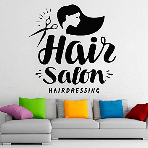 Friseursalon Logo Wandtattoos Mode Frauen Friseursalon Beauty Shop Innendekoration Fenster und Türen Vinyl Aufkleber Wandkunst Aufkleber28x28 cm