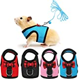 SATINIOR 4 Pieces Guinea Pig Harness and Leash Soft Mesh Small Pet Harness with Bowknot Bell, No Pulling Comfort Padded Vest for Guinea Pigs, Ferret, Chinchilla, Bunny, Rats, Iguana, Hamster