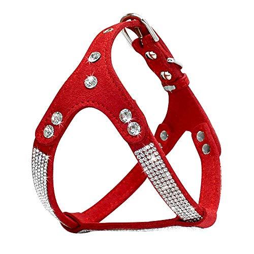 Arnés de piel de ante suave para cachorro, con diamantes de imitación, chaleco de mascota y gato, arnés pequeño de tamaño mediano para perro Chihuahua rosa M rojo