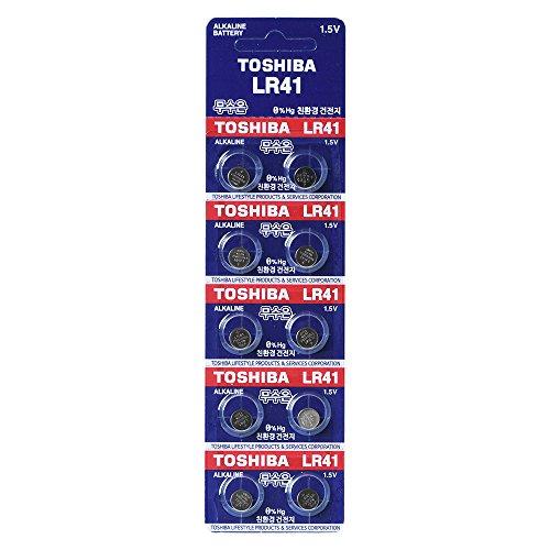 Toshiba LR41 AG3 Lot de 10 piles alcaline 1,5 V