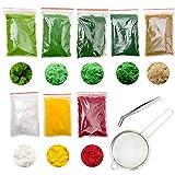 Cayway 10 Pz Modelo Árbol Césped 8 Colores Césped Artificial Polvo de Hierba de Simulación Planta Simulada de Césped Verde para Arbustos de arbustos en Miniatura, Paisaje de Paisaje de Bricolaje
