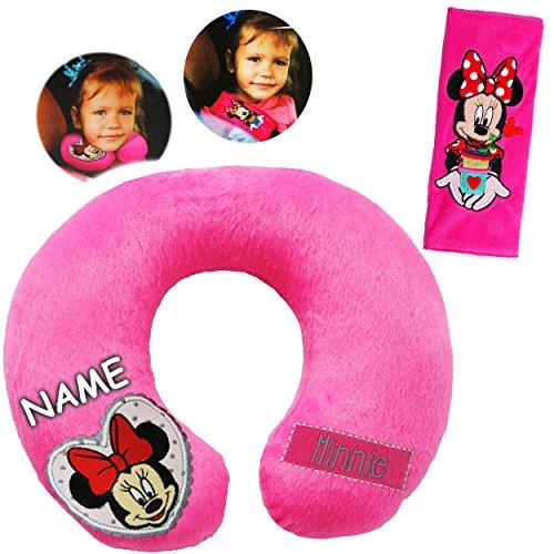 alles-meine.de GmbH 2 TLG. Set _ Nackenkissen / Nackenrolle & Gurtpolster __  Disney Minnie Mouse  - incl. Name - Kissen für Auto / Gurtschoner - Autoschale - Kindersitz - Reis..