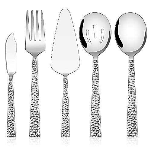 Hammered Serving Utensils, E-far 5-Piece Stainless Steel Square Hostess Serving Set for Buffet Party Kitchen Restaurant, Mirror Finished & Dishwasher Safe