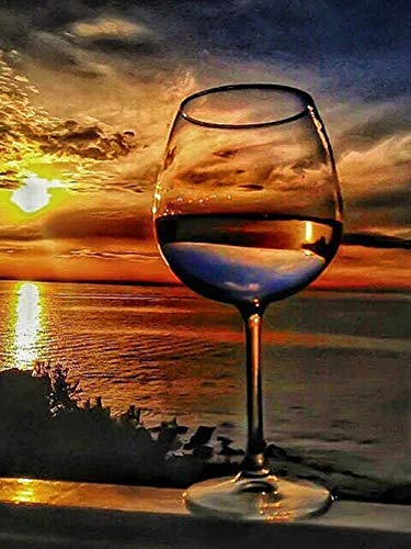 DIABO DIY 5D Diamond Painting Kits for Adults,Sunset & Wine Glass Full Drill Diamond Painting Rhinestone Embroidery Pictures Cross Stitch Arts Crafts for Home Wall Decor(30x40cm / 11.81x15.75inch)