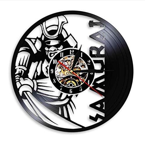 Ioxlks Wanduhr Aus Vinyl Japanische Krieger Wandkunst Wanduhr Samurai Vintage Schallplatte Uhr Bushido Wall Decor Janpanese Kultur Enthusiasten Geschenk 30 cm k421
