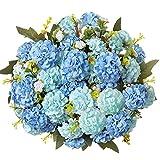 Fiori Artificiali,fiori finti per decorazioni bouquet fiori artificiali per balcone fiori finti da esterno cimitero Tavolo Casa Matrimoni Ufficio (blu)