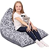 5 STARS UNITED Kids Bean Bag - COVER ONLY - Stuffed Animal Storage - Large Triangle Beanbag Chairs for Kids - 150+ Teddy Plush Toys Holder and Organiser for Girls - 100% Cotton Canvas - Grey Roses