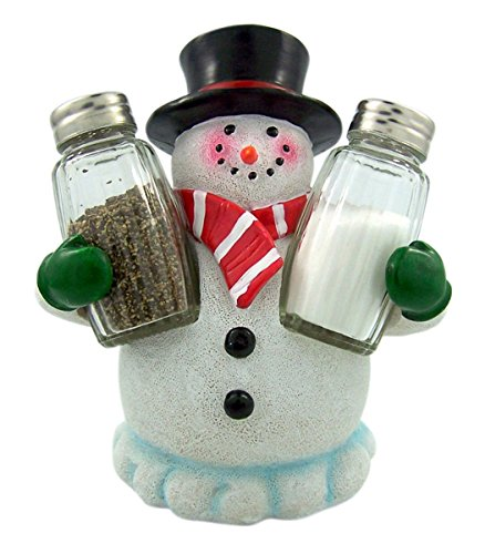 "DWK ""Festive Flavor"" Snowman Spice Holder with Salt and Pepper Shakers (3 Piece Set) 