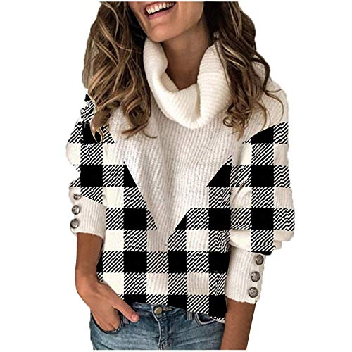 Women Sweater Fashion Checked Print Patchwork Long Sleeves Turtleneck Knitting Tops Tunic Sweatshirt with Cufflinks Winter Warm and Cozy Black