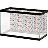 Birthday Aquarium Fish Tank Cheerful Spotty Pattern with Coffee and Sweets Heart Shaped Flowers Birds Cherries 3D Underwater World Backdrop Aquarium Multicolor L30 X H18 Inch