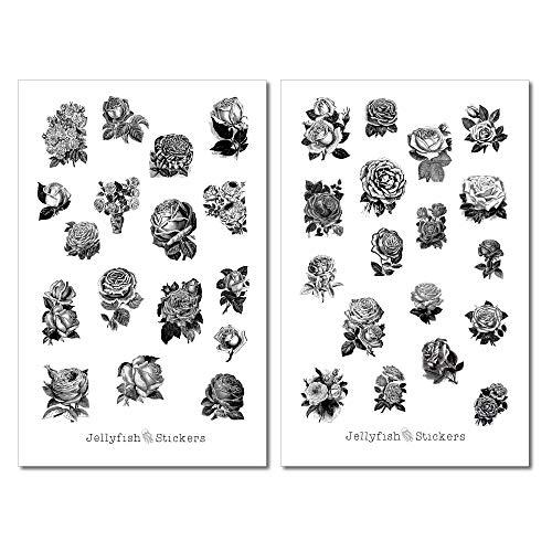 Vintage Rosen Sticker Set | Aufkleber schwarz-weiß | Journal Sticker | Sticker Blumen | Sticker Natur