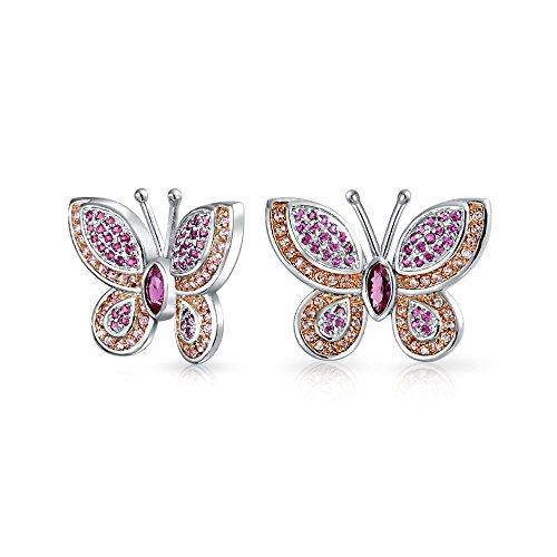 Rosa Fucsia jardín blanco Cubic Zirconia Pave CZ mariposa pendientes para las mujeres para adolescente plata plateado latón