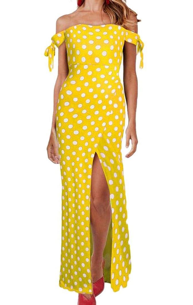Rrive Women Short Sleeve Polka Dot Split Off Shoulder Elegant Strapless Maxi Dress