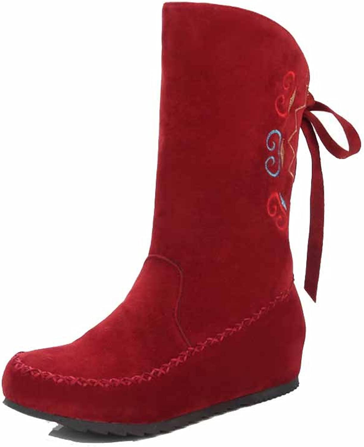 AmoonyFashion Women's Round Closed Toe Mid Top Low Heels Assorted color Frosted Boots