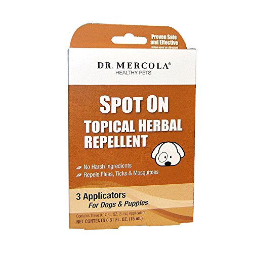 Dr. Mercola Spot On Topical Herbal Flea & Tick Repellent for Dogs, 3 Applicators (3 Month Supply), 100% Natural Formula with Geraniol and Essential Oils, Safe for Humans, Suitable for Puppies