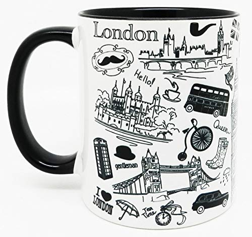 Half a Donkey Love London Mug with Glazed Black Handle and Inner by
