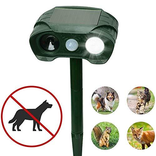 LANilianhuqa Repelente de animales ultrasónico solar defensa animal impermeable automático ultrasónica de defensa con solar, flash, batería para perros, gatos, ardillas, ratas