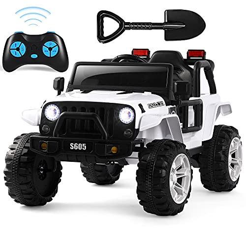 Electric Cars for Kids, 12V Ride On Car with Remote Control, Battery Powered Ride on Truck with Spring Suspension, Safety Belt, Extra Shovel, LED Lights, USB, Bluetooth MP3 Music Player White